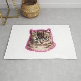 Staring Awesome Cat Face Rug