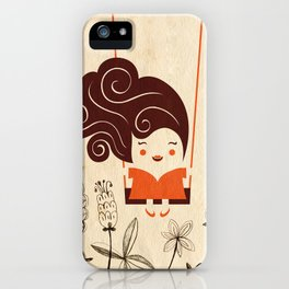 Happy girl on the swing iPhone Case