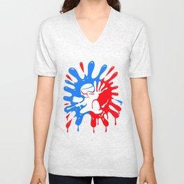 Paintball Splatter Red & Blue with Mascot Unisex V-Neck