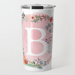 Flower Wreath with Personalized Monogram Initial Letter B on Pink Watercolor Paper Texture Artwork Travel Mug