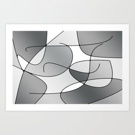 ABSTRACT CURVES #1 (Grays & White) Art Print