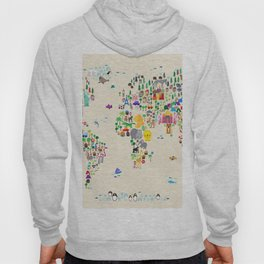 Animal Map of the World Hoody