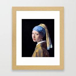 Girl with a Pearl Earring by Johannes Vermeer (c. 1665) Framed Art Print