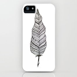 Aztec black and white feather iPhone Case