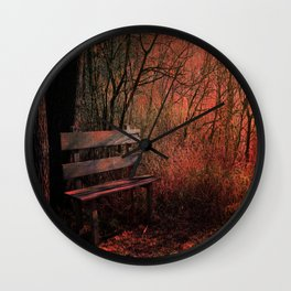 Days Gone By, Forest Landscape Bench Wall Clock