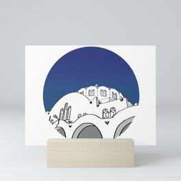 Santorini BLUE CIRCLE Mini Art Print