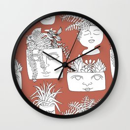 Illustrated Plant Faces in Terracotta Wall Clock