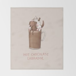 Hot Chocolate Labrador Throw Blanket