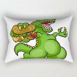 dinosaur eating hamburger Rectangular Pillow