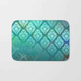 """""""Turquoise Ocean Damask Pattern"""" Bath Mat"""