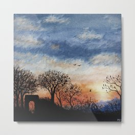 Winter Silhouette Sunset Metal Print