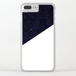 Modern Half Cut Starry Night and White Clear iPhone Case