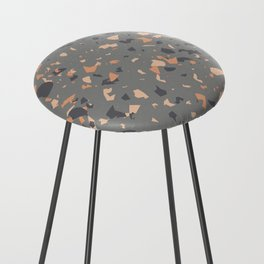 Coral and Gray Terrazzo Pattern Counter Stool