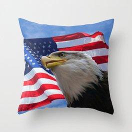 American Flag and Bald Eagle Throw Pillow