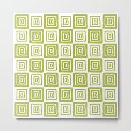 Mid Century Modern Geometric Checker 821 Olive Metal Print