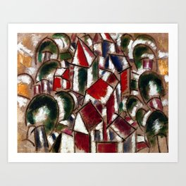 Village in the Forest, Paris, France landscape painting by Fernand Leger Art Print