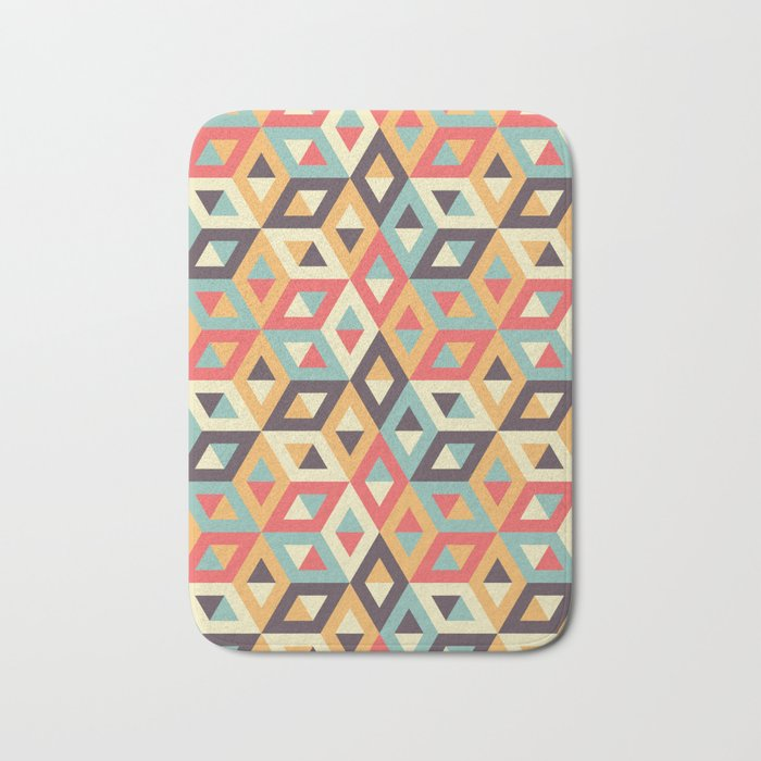 Pastel Geometric Pattern Bath Mat