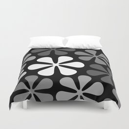 Abstract Flowers Monochrome Duvet Cover