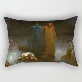 Gustave Doré - Dante And Virgil In The Ninth Circle Of Hell Rectangular Pillow