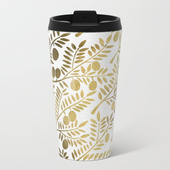 Gold Olive Branches Metal Travel Mug