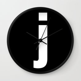 letter J (White & Black) Wall Clock