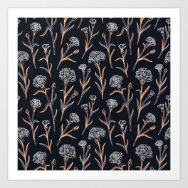 Autumn Carnations Black&Gold&White Art Print