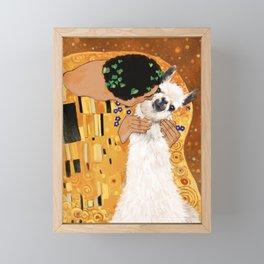 Llama THE KISS Framed Mini Art Print
