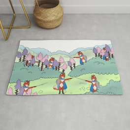 Lavender field with Vampire fox as a warrior Rug