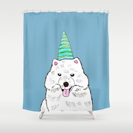 Samoyed with Party Hat Shower Curtain