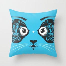 Cat face close-up Throw Pillow