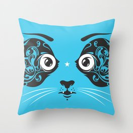 Cat face close-up Throw Pillow