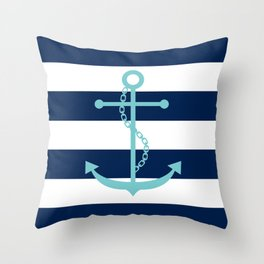 Aqua Anchor Shape on Wide Stripes Pattern Throw Pillow