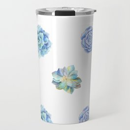 Bue and gren succulents pattern Travel Mug
