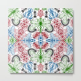 Funny bugs going for a beautiful choreography pattern design Metal Print