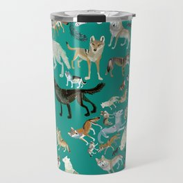 Wolves of the World Green pattern Travel Mug