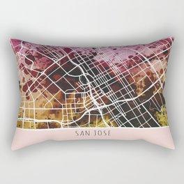 San Jose City Map/ Red Rectangular Pillow