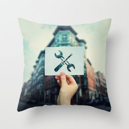 wrench and screwdriver Throw Pillow