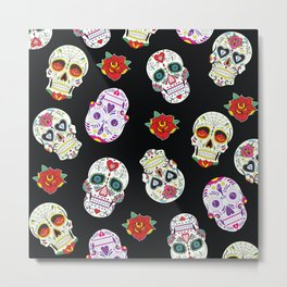 Sugar Skull Day of the Dead Pattern Metal Print