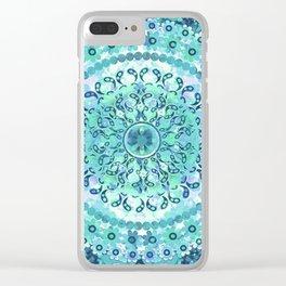 Aqua Mosaic Mandala Clear iPhone Case