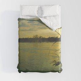 Evening Sunset on the Mekong River Landscape Duvet Cover