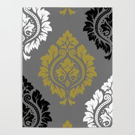 Decorative Damask Pattern BW Gray Gold Poster