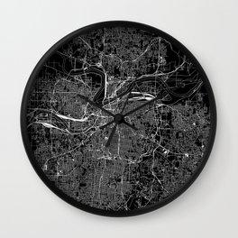Kansas City Black Map Wall Clock
