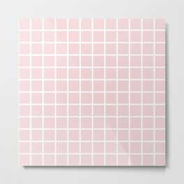Simply Minimalistic Grid Line Pattern - Pink & White - Mix & Match with Simplicity of Life Metal Print