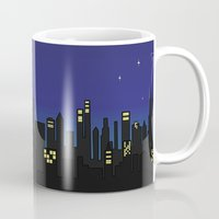 cityscape Mugs featuring Cityscape by Jozi