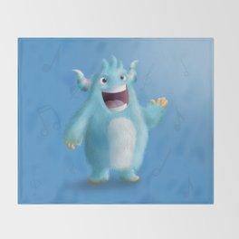 Cute little blue singer monster - Custom T Shirt Throw Blanket