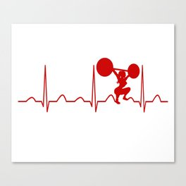 WEIGHTLIFTING WOMAN HEARTBEAT Canvas Print