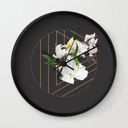 Tropical Flowers & Geometry III Wall Clock