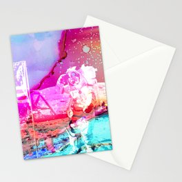 Trippy Astronaut in Space Paint Stationery Cards