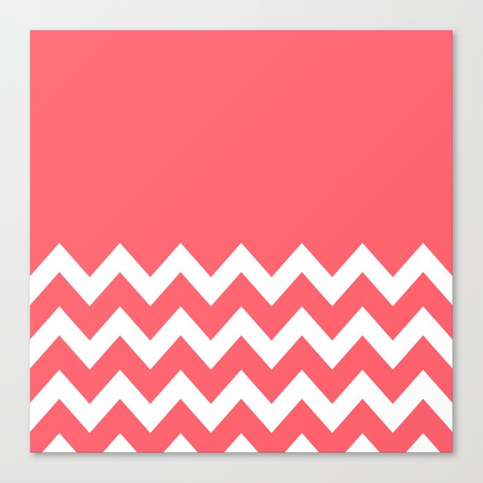 Coral Red Chevron Colorblock Canvas Print