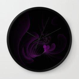 Purple Swirls on Black Wall Clock